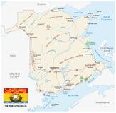 Färdplan med flaggan av Kanada det atlantiska landskapet New Brunswick stock illustrationer