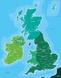 Färgöversikt av Storbritannien och Irland Arkivbilder