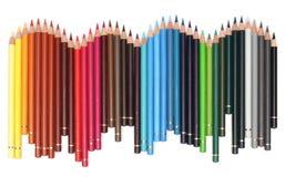färg över vita blyertspennor Arkivfoton