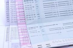 Färg av bankböcker eller passerandeböcker Fotografering för Bildbyråer