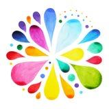 färg 7 av begreppet för chakramandalasymbolet, blommar blom-, vattenfärgmålning Arkivbilder