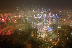 Färg av nattljus i Hong Kong Arkivbild