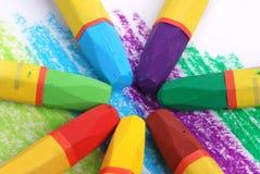 färg crayons hjulet Royaltyfri Fotografi