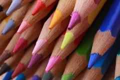 färg 3d crayons blyertspennor framför Royaltyfri Foto