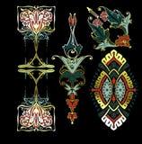 Färg dekorerar tappningdesignbeståndsdelar Royaltyfria Bilder