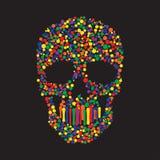 Färg Dots Skull Fotografering för Bildbyråer