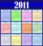 färg för 2011 kalender Arkivfoto