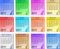 färg för 2011 kalender Arkivbild