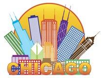 Färg för Chicago stadshorisont i cirkelvektorillustration Arkivbild