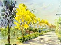 Färg för guling för landskap för vattenfärgmålning original- av det guld- trädet royaltyfri illustrationer