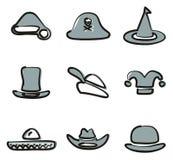 Färg 2 för hattsymbolsuppsättning 2 Freehand vektor illustrationer