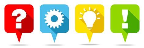 Färg för idé och för svar för Speechbubbles frågearbete stock illustrationer