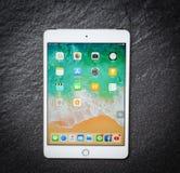Färg för ny Apple iPad mini för minnestavladator vit guld- med framdelen för skärmskärm på mörk bakgrund arkivfoto