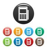 Färg för symboler för kreditkortavläsare fastställd stock illustrationer