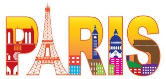 Färg för text för kontur för Paris stadsEiffeltorn Vect Royaltyfria Bilder