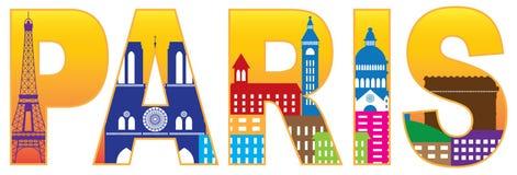 Färg för text för kontur för Paris stadshorisont Illustrat Arkivbild