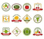 Färg för uppsättning för etiketter för fruktgrönsaker Arkivbilder