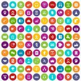 färg för uppsättning för 100 symboler för appellmitt vektor illustrationer