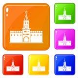 Färg för vektor för ryska kremlin symboler fastställd royaltyfri illustrationer