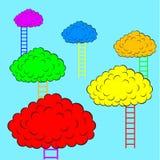 Färg fördunklar med trappa, vektorillustration Royaltyfri Fotografi