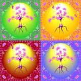 Färg illustrerade trädet i en utsmyckad ram royaltyfria bilder