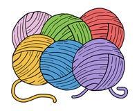 Färg klumpa ihop sig av ull stock illustrationer
