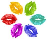 färg kysser läppstift Arkivfoton
