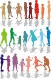 färg lurar silhouettes Royaltyfri Bild