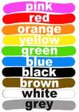 Färg namnger på engelska Arkivfoto