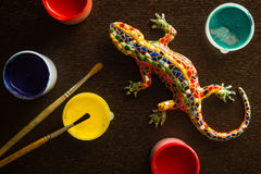 Färg och ödla Arkivfoton