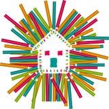 Färg Pencils huset Royaltyfri Fotografi