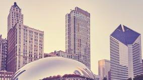 Färg tonade bilden av Chicago horisont, USA royaltyfria bilder