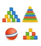 färg toys trä vektor illustrationer