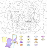 Färg vid den bildande leken för nummer för ungar rolig tecknad filmdrake Arkivbild