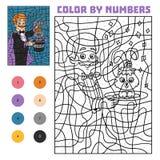 Färg vid numret för barn, illusionist vektor illustrationer