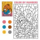 Färg vid numret för barn, katt vektor illustrationer
