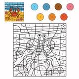 Färg vid numret (krabban) vektor illustrationer