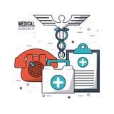 Färga affischmedicinsk forskning med caduceussymbol- och läkarundersökningskrivplatta- och telefon- och första hjälpensatsen vektor illustrationer