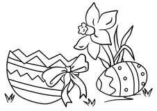 Färga av påskliljor, äggskal med pilbågen royaltyfri bild