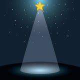 Färga bakgrund med den mörka himmel och Betlehem stjärnan Arkivfoton