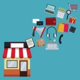 Färga bakgrund med lagret med sväva för markis- och symbolsonline-shopping stock illustrationer