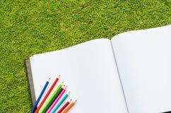 Färga blyertspennan och sketchbooken på grönt gräs för den nya våren Fotografering för Bildbyråer