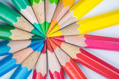 Färga blyertspennor Fotografering för Bildbyråer