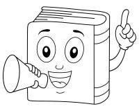 Färga den gulliga boken som rymmer en megafon stock illustrationer