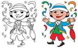Färga den lyckliga karnevalmaskeringen Arkivfoto