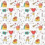 Färga den moderna sömlösa modellen för valentindag och bröllop De traditionella attributen stock illustrationer