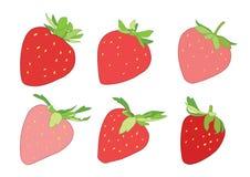Färga den röda och rosa jordgubben på vit bakgrund stock illustrationer