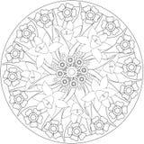 Färga den vuxna boken för sida Svartvita wi för blom- illustration Arkivfoton