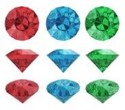 Färga diamanter royaltyfri illustrationer