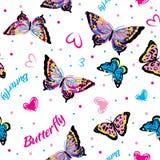 Färga fjärilar i sömlös vit bakgrund vektor illustrationer
